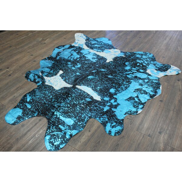 Marshal Handmade Cowhide Aqua/Blue Area Rug by Bloomsbury Market