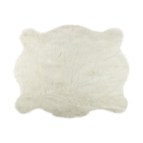 Shela Faux Cowhide White Area Rug by Union Rustic