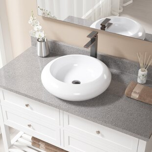 Compare prices Vitreous China Circular Vessel Bathroom Sink with Faucet By MR Direct