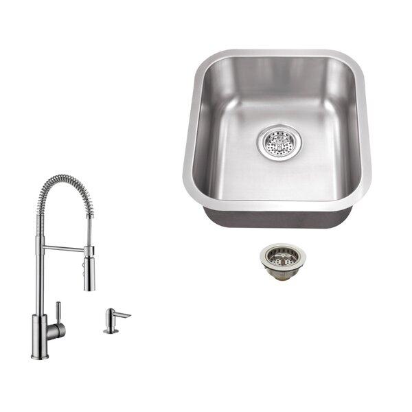 18 L x 16.13 W Undermount Bar Sink with  Faucet by Soleil