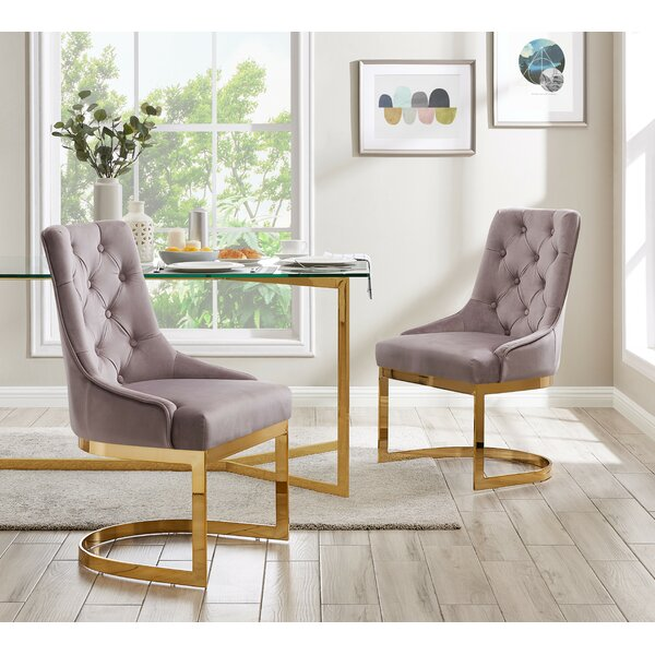 Caffrey Tufted Velvet Upholstered Side Chair (Set of 2) by Everly Quinn Everly Quinn