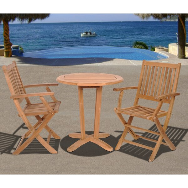 Elsmere 3 Piece Teak Bistro Set by Beachcrest Home