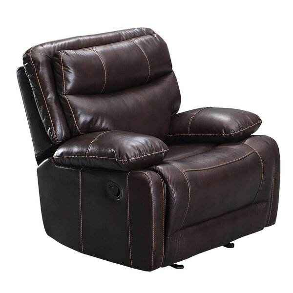 Leatherette Glider Recliner Chair With Pillow Top Backrest, Brown Red Barrel Studio W002378226