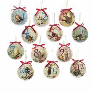 12 Piece Decoupage Ball Ornament Set