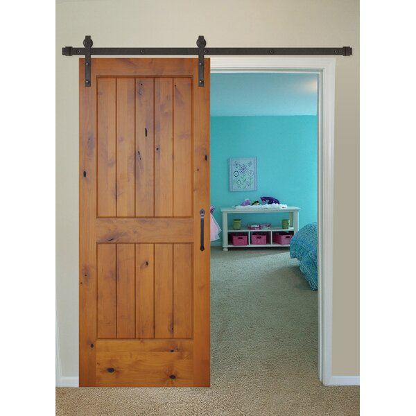 Rustic Knotty Alder Prefinished 2 Panel Solid Panelled Wood Interior Barn Door by Creative Entryways