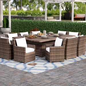 Dutil 11 Piece Sunbrella Dining Set with Cushions