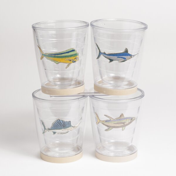 Newport Game Fish Non-skid 4 Piece 12 oz. Plastic Every Day Glass Set by Galleyware Company
