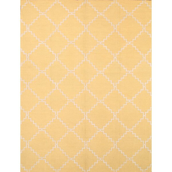 Michaela Trellis Oriental Hand-Tufted Wool Beige/Yellow Area Rug by Charlton Home