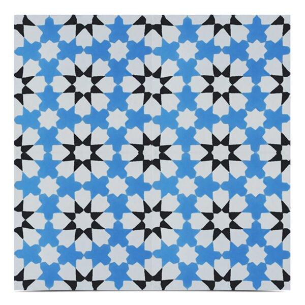 Ahfir Handmade 8x 8 Cement Field Tile in Blue/White by Moroccan Mosaic