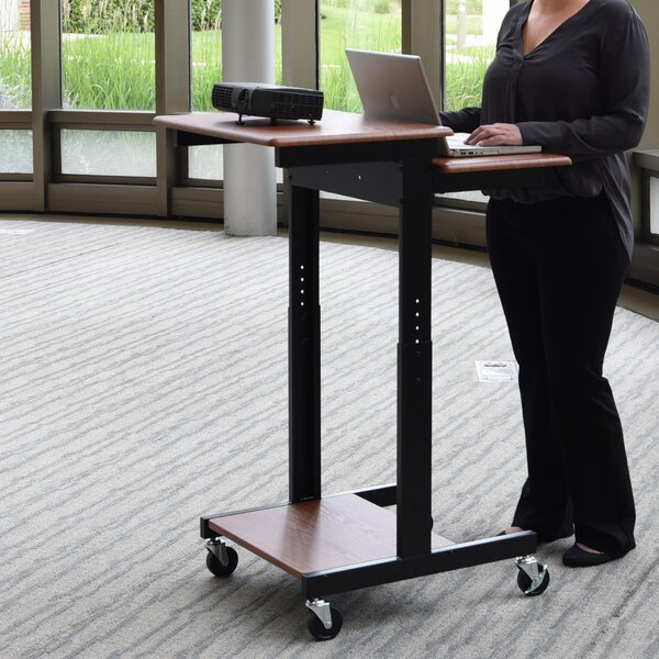 Adjustable Height Presentation Workstation AV Cart by Luxor
