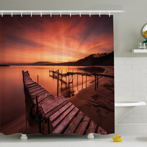 Scenery House Old Rustic Pier on Beach and Romantic Tranquil Sky Pure Twilight Shower Curtain Set by Ambesonne