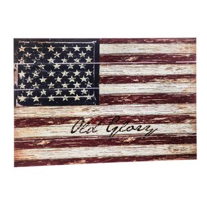 'Old Glory' Outdoor Wooden Plank Graphic art by August Grove
