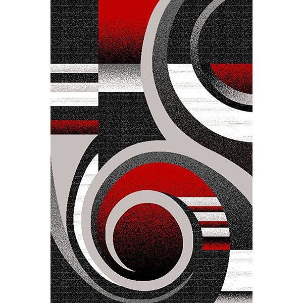Mccampbell 3D Gray/Red Area Rug by Ivy Bronx