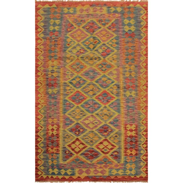 One-of-a-Kind Aalborg Hand-Woven Rust/Blue Area Rug by Isabelline
