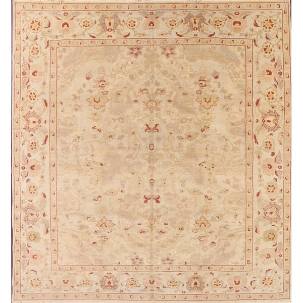 One-of-a-Kind Nardi Oushak Peshawar Ziegler Oriental Hand-Knotted Wool Beige/Ivory Area Rug by Astoria Grand