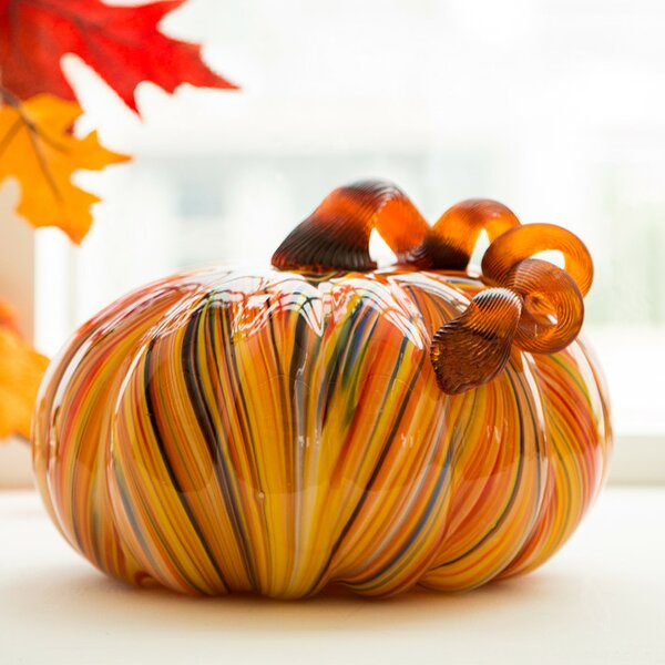 Modern Striped Glass Pumpkin by The Holiday Aisle