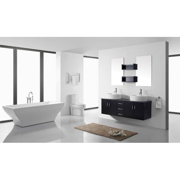 Camren 59 Double Bathroom Vanity Set with White Top and Mirror by Zipcode Design