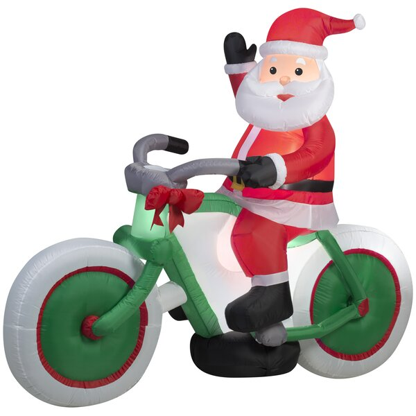 Santa on Bicycle Christmas Oversized Figurine by T