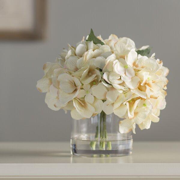 Hydrangea in Water Floral Arrangement in Glass Vase by Andover Mills