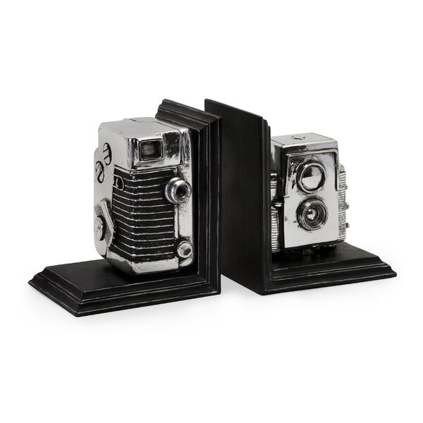Vintage Camera Book Ends (Set of 2) by 17 Stories