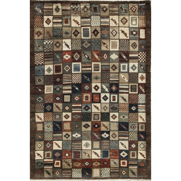 One-of-a-Kind Afghan Gabbeh Hand-Knotted Wool Black Area Rug by Bokara Rug Co., Inc.
