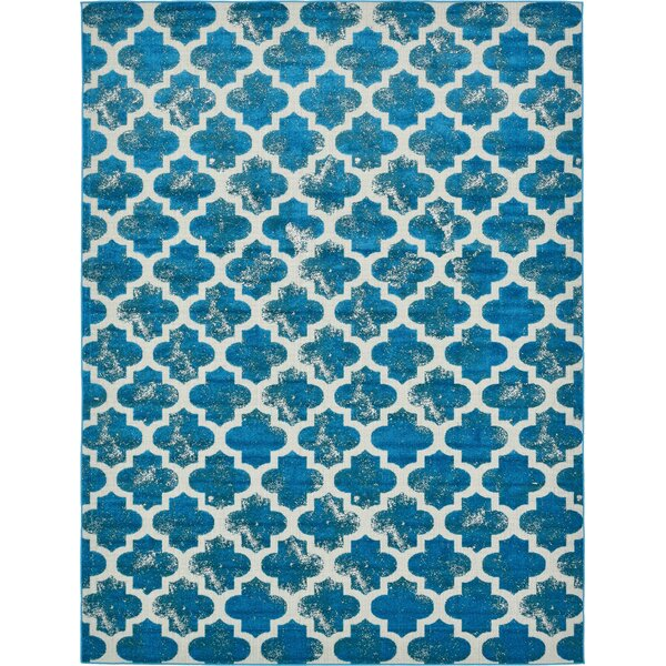 Sarno Turquoise/White Indoor/Outdoor Area Rug by Wrought Studio