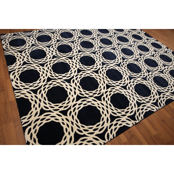One-of-a-Kind Riverside Hand-Knotted Wool Navy/Ivory Area Rug by Brayden Studio