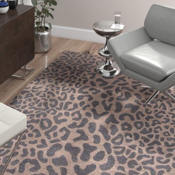 Macias Handmade Gray Animal Print Area Rug by Wade Logan