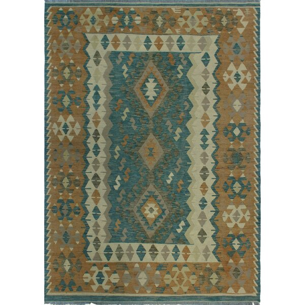 One-of-a-Kind Renita Kilim Hand-woven Wool Blue/Brown Area Rug by Isabelline