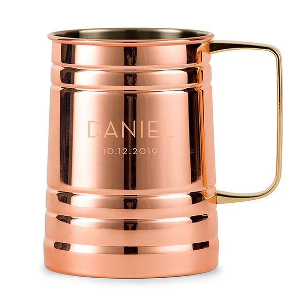 Samaniego Modern Font Personalized Moscow 20 oz. Copper Mug by Ebern Designs