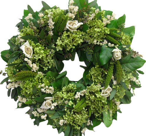 18 Viridian and Cream Wreath by From the Garden