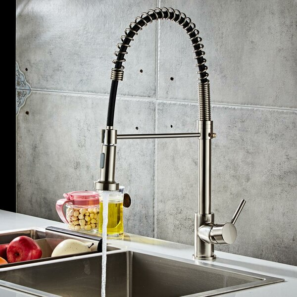 Pull Down Single Handle Kitchen Faucet With Side Spray By Ktaxon