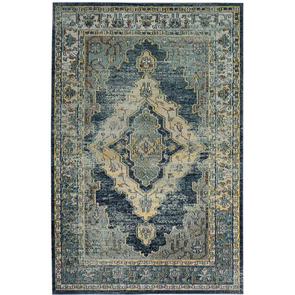 Michiana Blue/Yellow Area Rug by Charlton Home