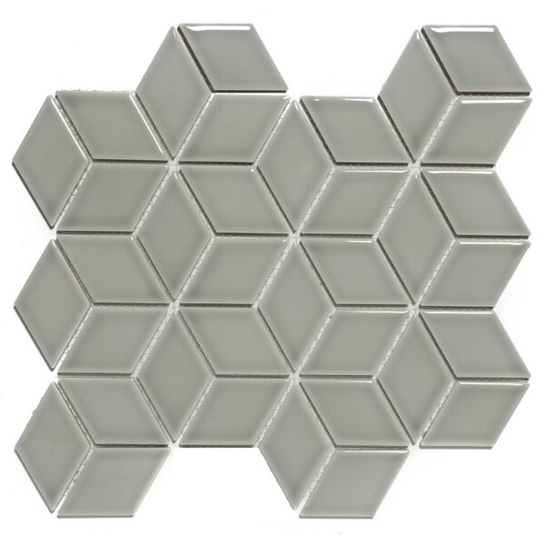Paris Rhombus Glossy 1.9 x 3.19 Porcelain Mosaic Tile in Gray by The Mosaic Factory