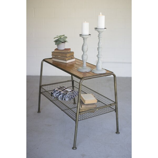Grigg Wood and Metal Console Table with Wire Mesh Lower Tray by Williston Forge