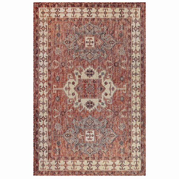 Arverne Red Indoor/Outdoor Area Rug by Charlton Home