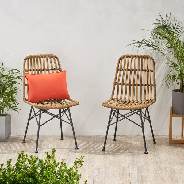 Nakagawa Wicker Patio Dining Chair (Set Of 2) By Bungalow Rose