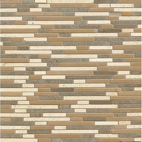 Random Sized Limestone Mosaic Tile in Honed Blend by Bedrosians
