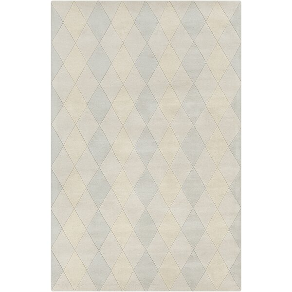Dions Hand Tufted Wool Ivory/Blue Area Rug by One Allium Way