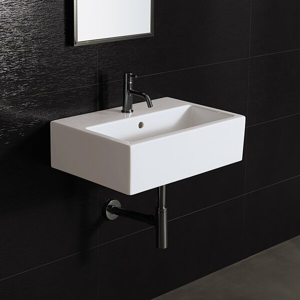 Area Boutique Ceramic 24 Wall Mount Bathroom Sink with Overflow by Bissonnet