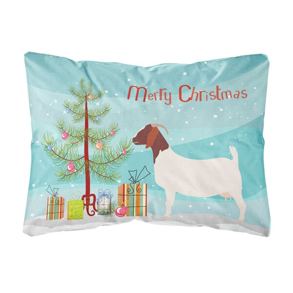 Edgehill Boer Goat Christmas Indoor/Outdoor Throw Pillow by The Holiday Aisle