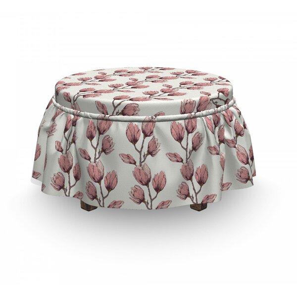 Feminine Flower Branch Ottoman Slipcover (Set Of 2) By East Urban Home