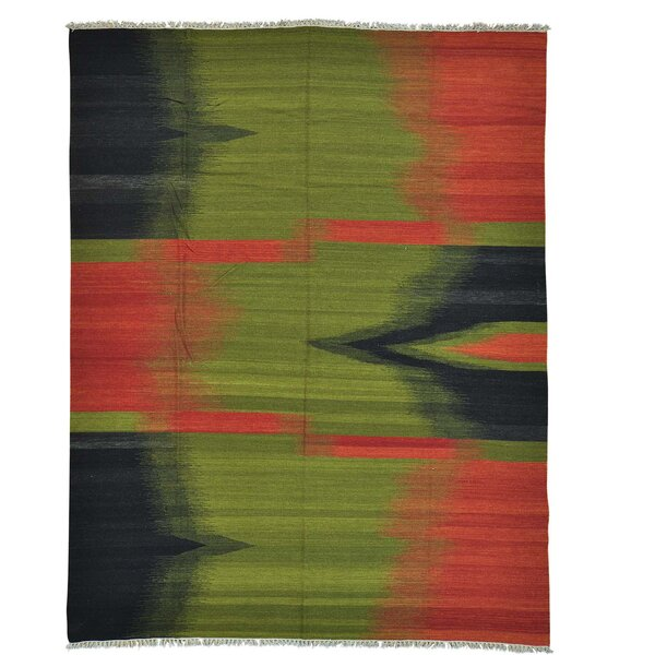 Durie Kilim Hand-Knotted Green/Red Area Rug by Bloomsbury Market