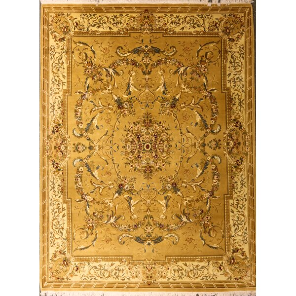 Pylle Hill One-of-a-Kind Pakistani Aubusson Hand-Knotted Wool Mustard Area Rug by Astoria Grand