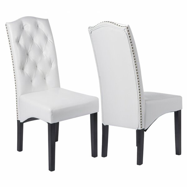 Stringham Tufted Upholstered Parsons Chair in White (Set of 2) by Darby Home Co Darby Home Co
