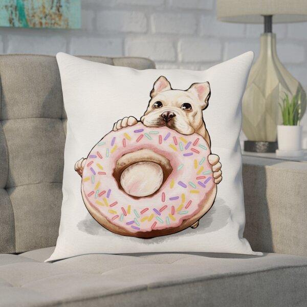 Frontier Donut Frenchie Throw Pillow by Brayden Studio