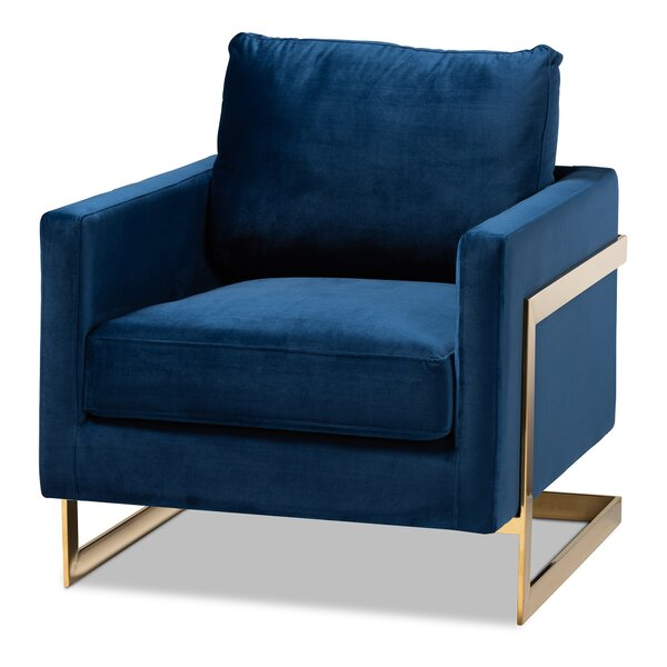 Jackie Glam and Luxe Velvet Fabric Upholstered Armchair by Everly Quinn