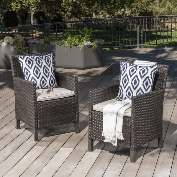 Arguelles Outdoor Wicker Patio Dining Chair (Set o