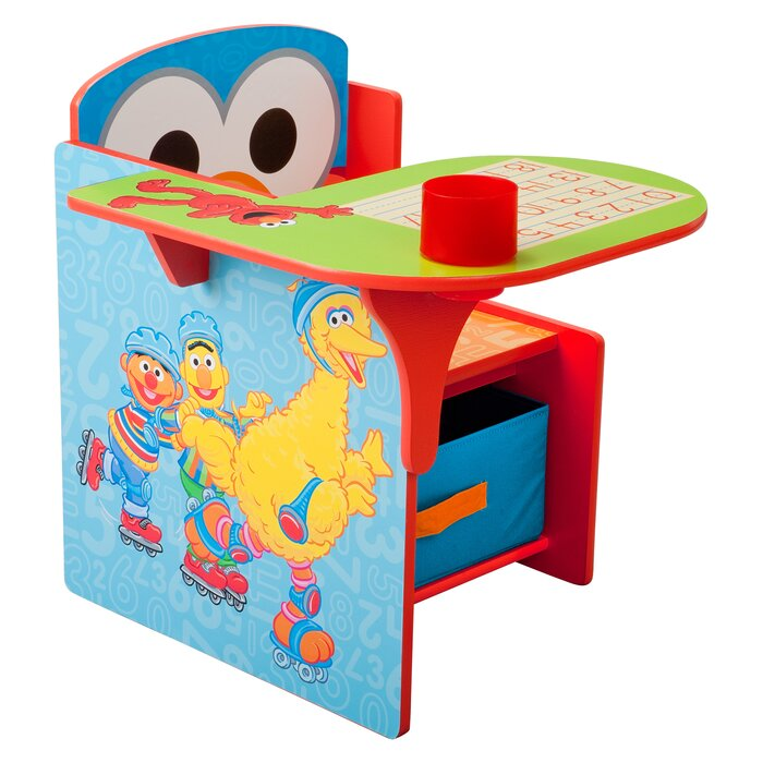 Children Desk Part - 22: Sesame Street Kids Desk Chair With Storage Compartment And Cup Holder