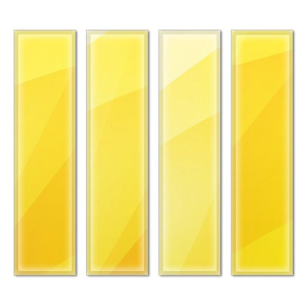Custom 3 x 12 Beveled Glass Subway Tile in Yellow by Upscale Designs by EMA